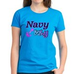 Navy Baby pink anchor Women's Dark T-Shirt