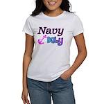 Navy Baby pink anchor Women's T-Shirt