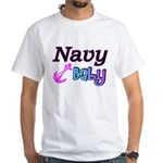Navy Baby pink anchor White T-Shirt