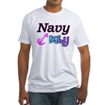 Navy Baby pink anchor Fitted T-Shirt