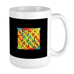 Celtic 12 Circles - Bright on Black Large Mug