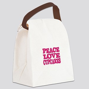 Peace Love Cupcakes Canvas Lunch Bag