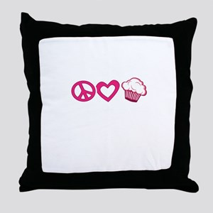 Peace Love Cupcakes - Pink Illustration Throw Pill