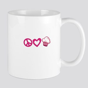 Peace Love Cupcakes - Pink Illustration Mugs