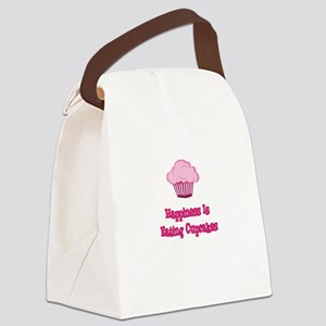Happiness is Eating Cupcakes Canvas Lunch Bag