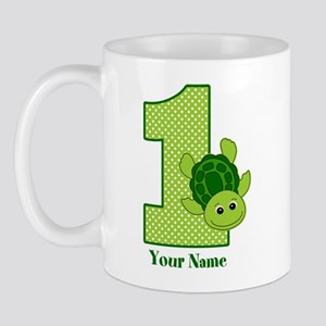 Personalized Turtle 1st Birthday Mug