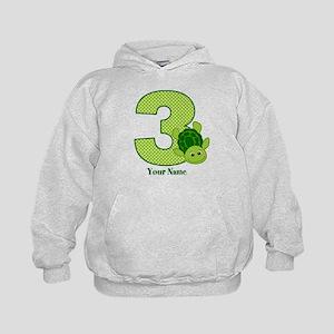 Personalized Turtle 3rd Birthday Kids Hoodie