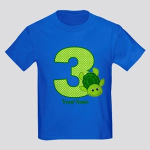 Personalized Turtle 3rd Birthday Kids Dark T-Shirt