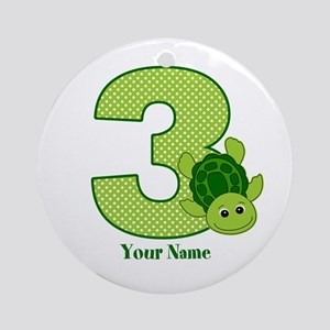 Personalized Turtle 3rd Birthday Ornament (Round)