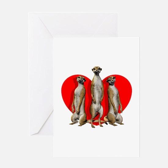 Heart Meerkats Greeting Cards