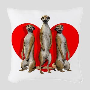 Heart Meerkats Woven Throw Pillow