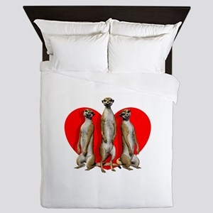 Heart Meerkats Queen Duvet