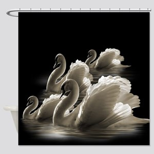 Group Of Swans (Black) Shower Curtain