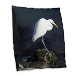 Great Egret Burlap Throw Pillow