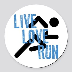 Live, Love, Run Round Car Magnet