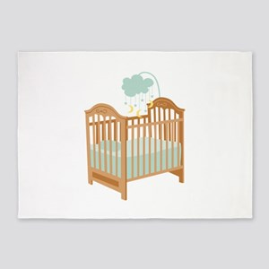 Crib with Sky Mobile 5'x7'Area Rug