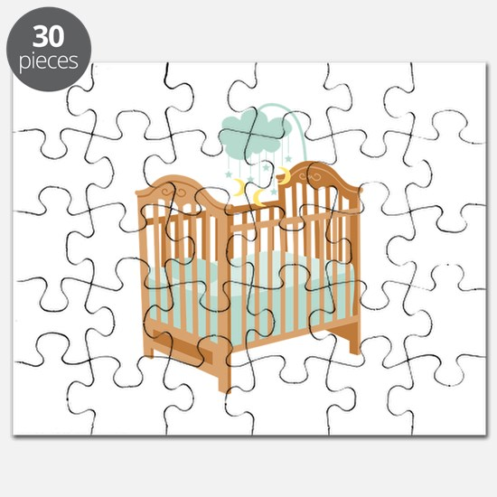 Crib with Sky Mobile Puzzle