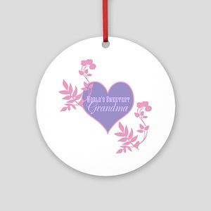 Worlds Sweetest Grandma Ornament (Round)