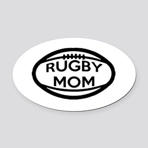 Rugby Mom Oval Car Magnet