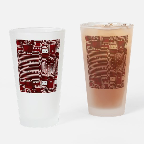 Red Geek Motherboard Circuit Patter Drinking Glass