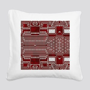 Red Geek Motherboard Circuit Square Canvas Pillow