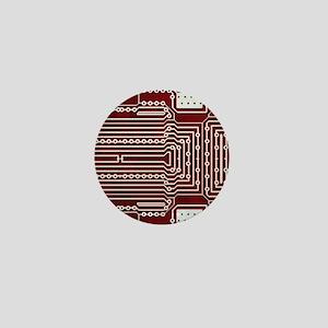 Red Geek Motherboard Circuit Pattern Mini Button