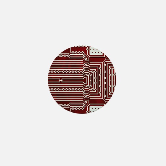 Red Geek Motherboard Circuit Pattern Mini Button