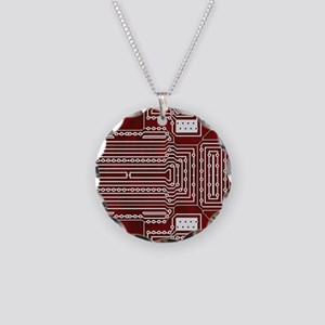 Red Geek Motherboard Circuit Necklace Circle Charm