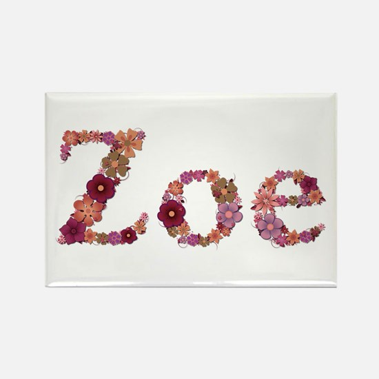 Zoe Pink Flowers Rectangle Magnet