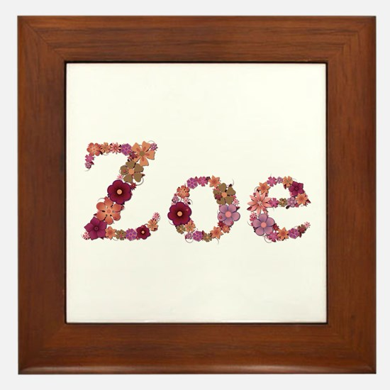 Zoe Pink Flowers Framed Tile