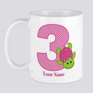 Personalized Pink Turtle 3rd Birthday Mug