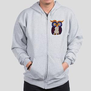 Primitive Owl Art Zip Hoodie