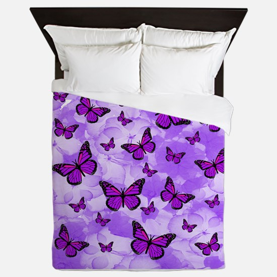 PURPLE FLOWERS AND BUTTERFLIES Queen Duvet