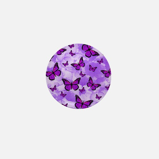 PURPLE FLOWERS AND BUTTERFLIES Mini Button