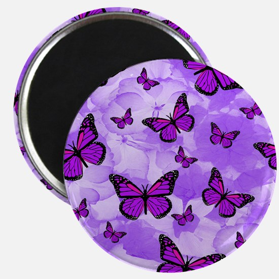 PURPLE FLOWERS AND BUTTERFLIES Magnets