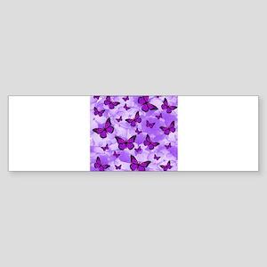 PURPLE FLOWERS AND BUTTERFLIES Bumper Sticker