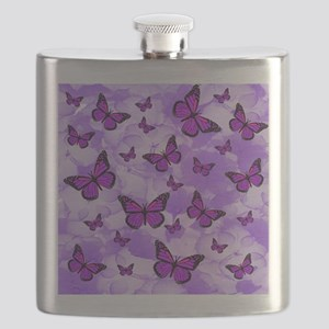 PURPLE FLOWERS AND BUTTERFLIES Flask