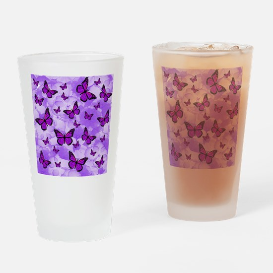 PURPLE FLOWERS AND BUTTERFLIES Drinking Glass