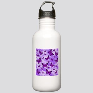 PURPLE FLOWERS AND BUTTERFLIES Water Bottle