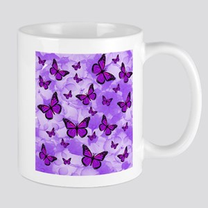 PURPLE FLOWERS AND BUTTERFLIES Mugs