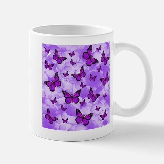 PURPLE FLOWERS AND BUTTERFLIES Mugs