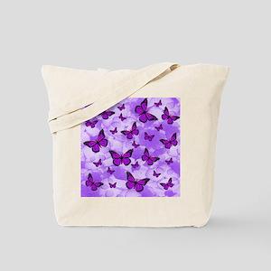 PURPLE FLOWERS AND BUTTERFLIES Tote Bag