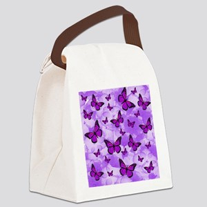 PURPLE FLOWERS AND BUTTERFLIES Canvas Lunch Bag