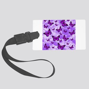 PURPLE FLOWERS AND BUTTERFLIES Luggage Tag