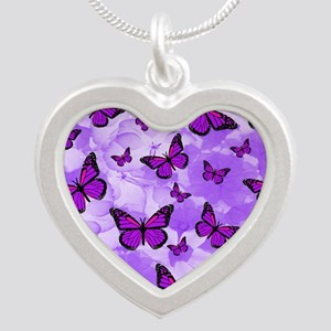 PURPLE FLOWERS AND BUTTERFLIES Necklaces