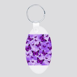 PURPLE FLOWERS AND BUTTERFLIES Keychains