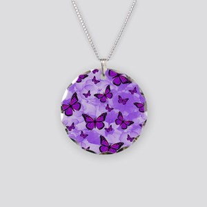 PURPLE FLOWERS AND BUTTERFLIES Necklace