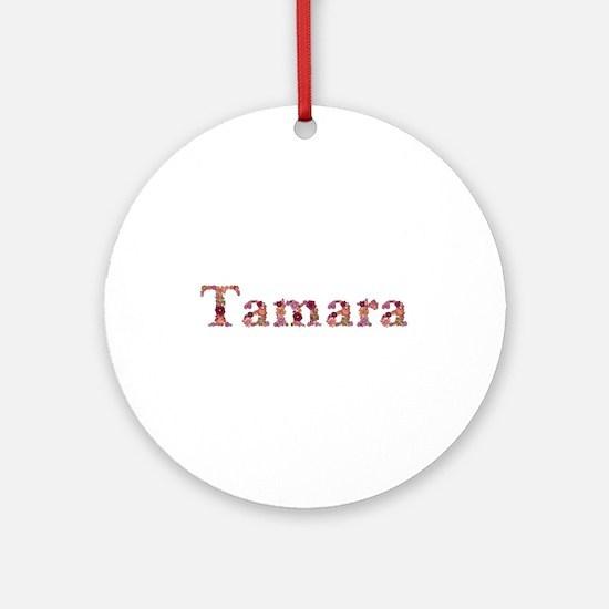 Tamara Pink Flowers Round Ornament