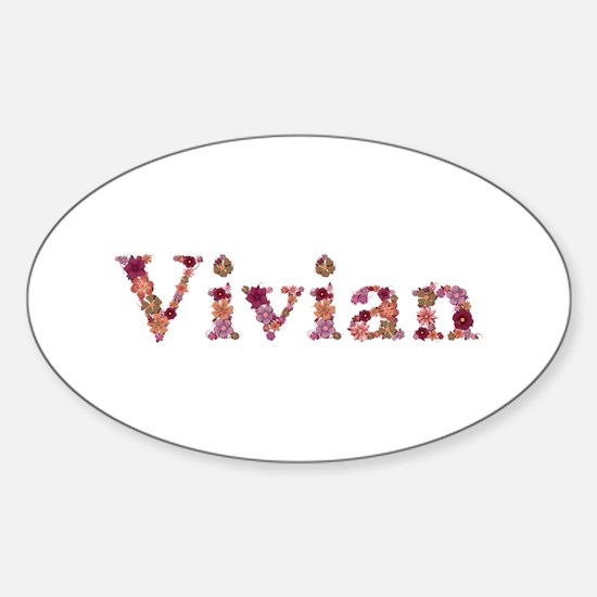 Vivian Pink Flowers Oval Decal