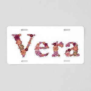 Vera Pink Flowers Aluminum License Plate